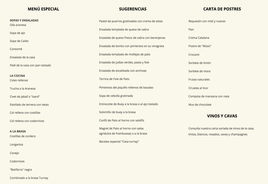 Casa turnay menu